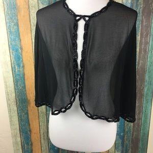 Vintage JMD Black Sheer Sequin Trim Cape